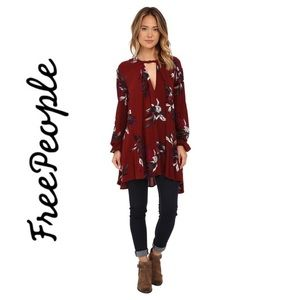 Free People Burgundy Red Swing Tunic